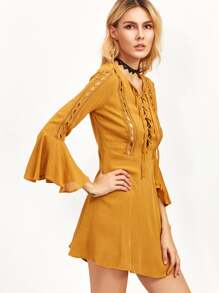 Mustard Eyelet Lace Insert Lace Up Ruffle Dress