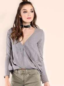 Grey Striped V Neck Wrap Long Sleeve T-shirt