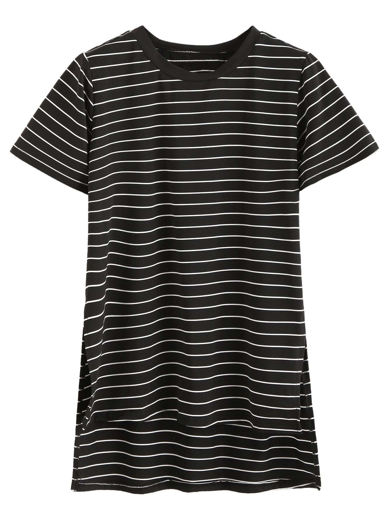 Black Striped Slit Side High Low T-shirt tee160901101