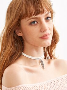 White Feather Pendant Cord Choker Necklace