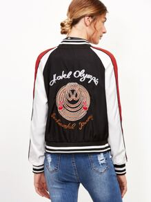 Black Color Block Letter Embroidery Zipper Up Jacket