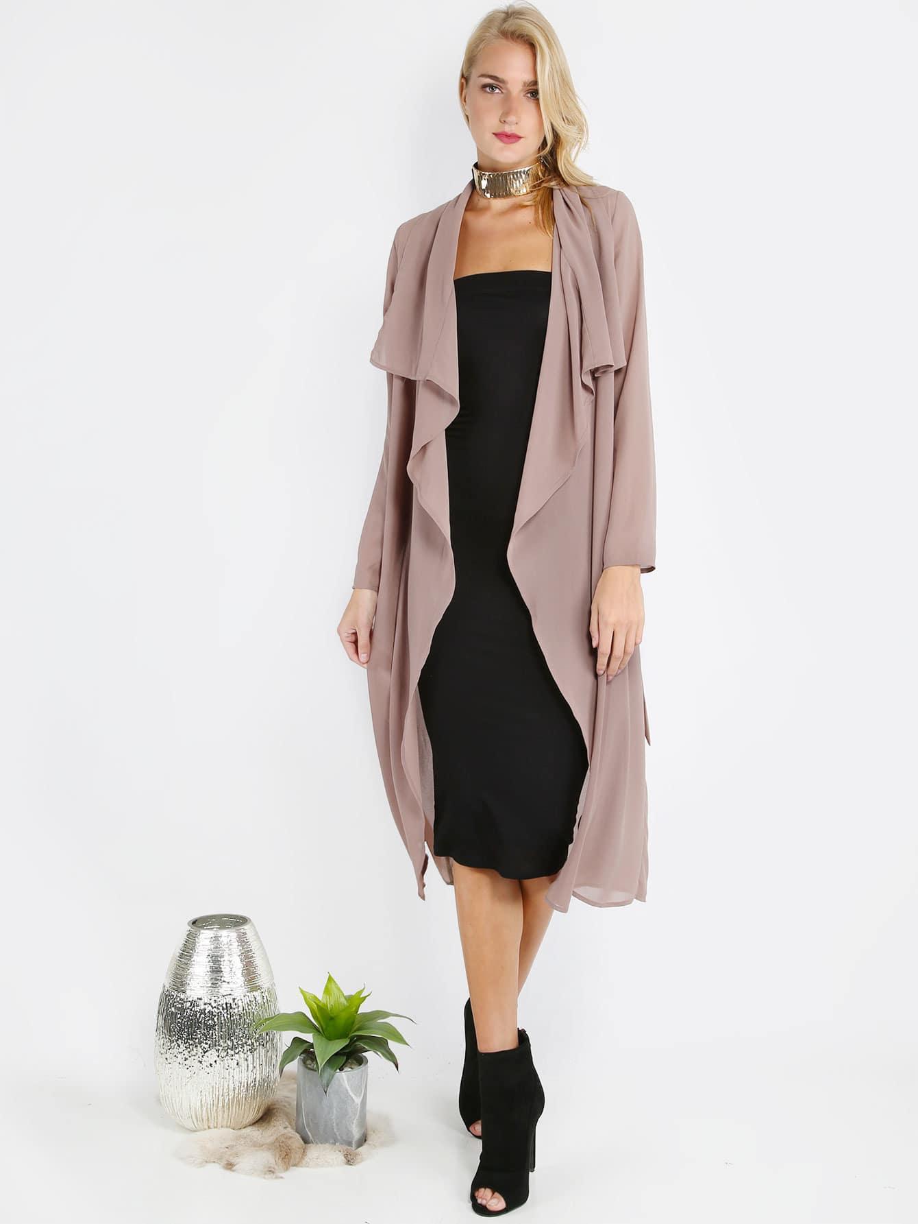 Dark Pink Long Outerwear outermmc160712725