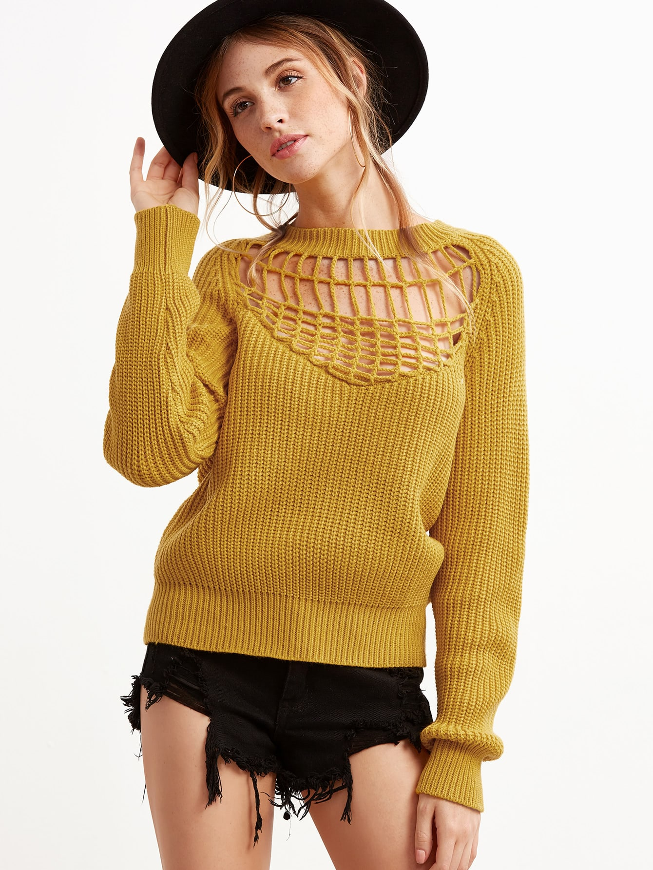 Mustard Hollow Out Ribbed Knit Pullover Sweater sweater160920403