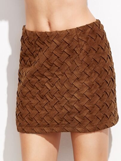 Suede Allover Braided skirt