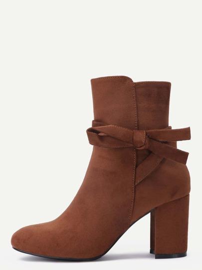 Camel Faux Suede Tie Detail Boots