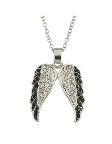 Rhinestone Wings Pendant Necklace