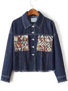Blue Graphic Pattern Frayed Trim Denim Jacket