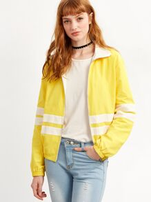 Yellow Striped Zip Up Jacket