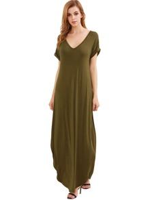 Olive Rolled-cuff Pockets Split Maxi Dress