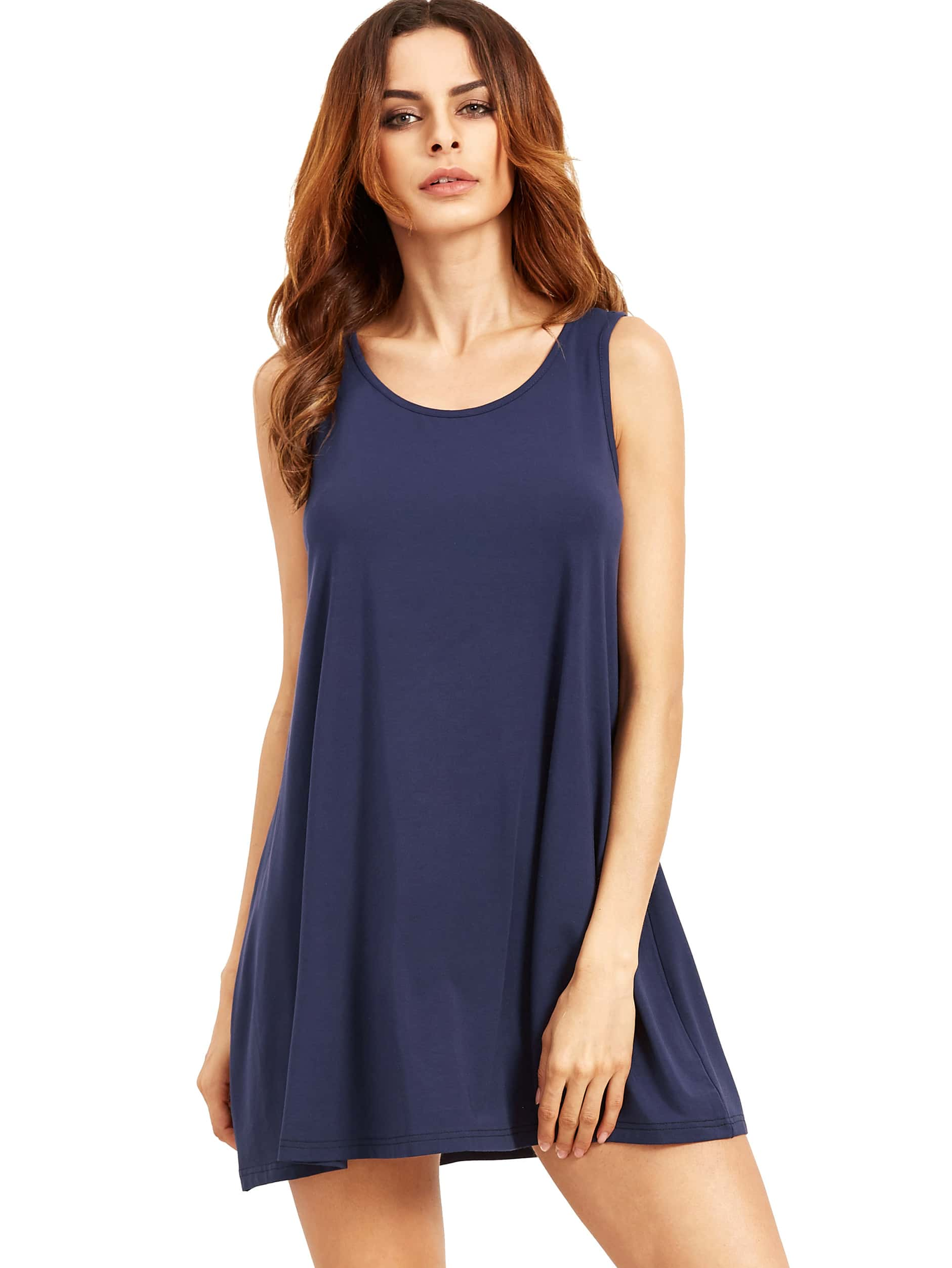 Royal Blue Sleeveless Casual Shift Dress