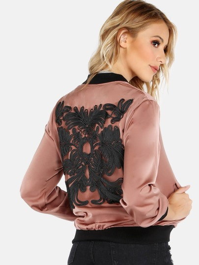 Embroidered Satin Contrast Bomber Jacket MAUVE
