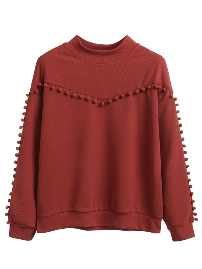 Burgundy Pompom Detail Drop Shoulder Sweatshirt