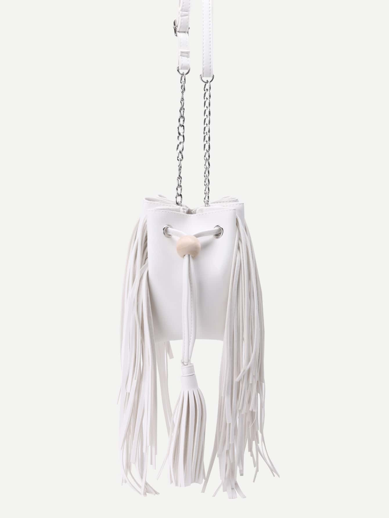 White PU Tassel Trim Drawstring Bucket Bag With Chain Image