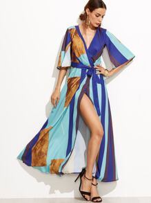 Color Block Kimono Sleeve Surplice Wrap Dress