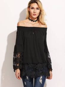 Black Crochet Trim Smocked Off The Shoulder Top