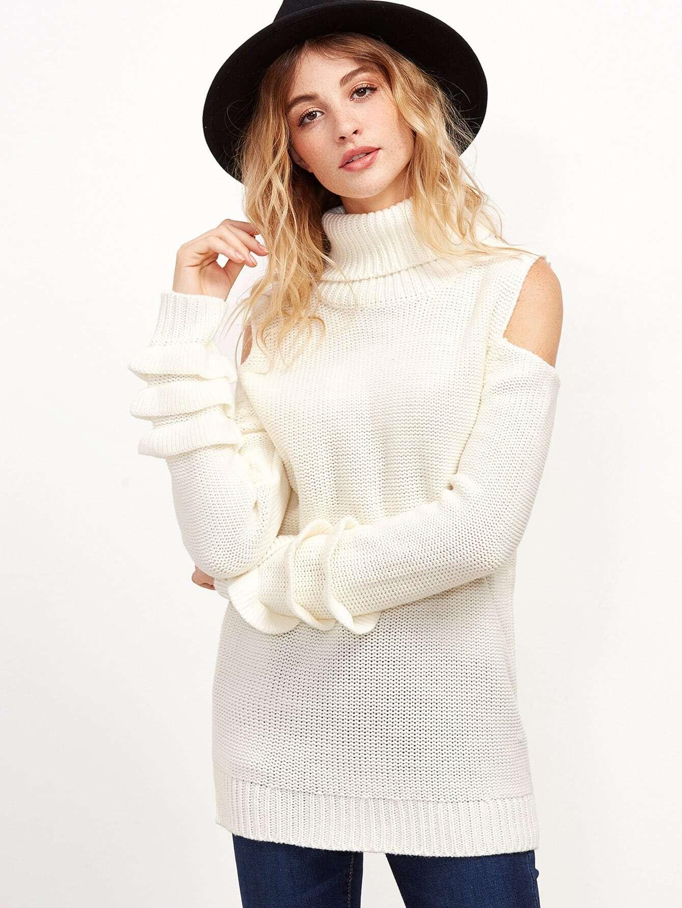 White Turtleneck Open Shoulder Layered Sleeve Sweater