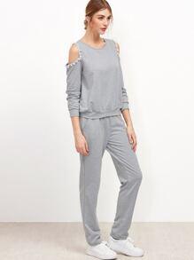 Grey Cutout Shoulder Pom Pom Trim Sweatshirt With Pants
