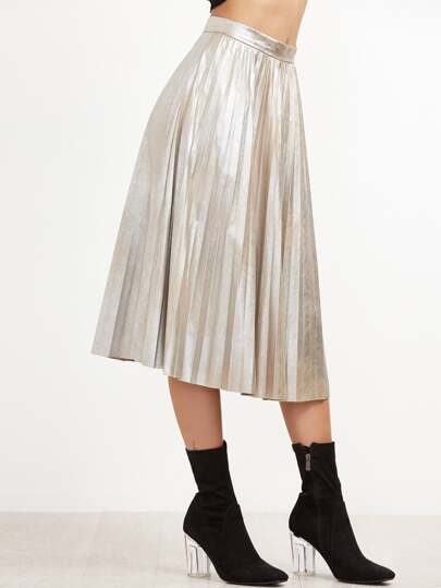 Silver Pleated Circle Skirt