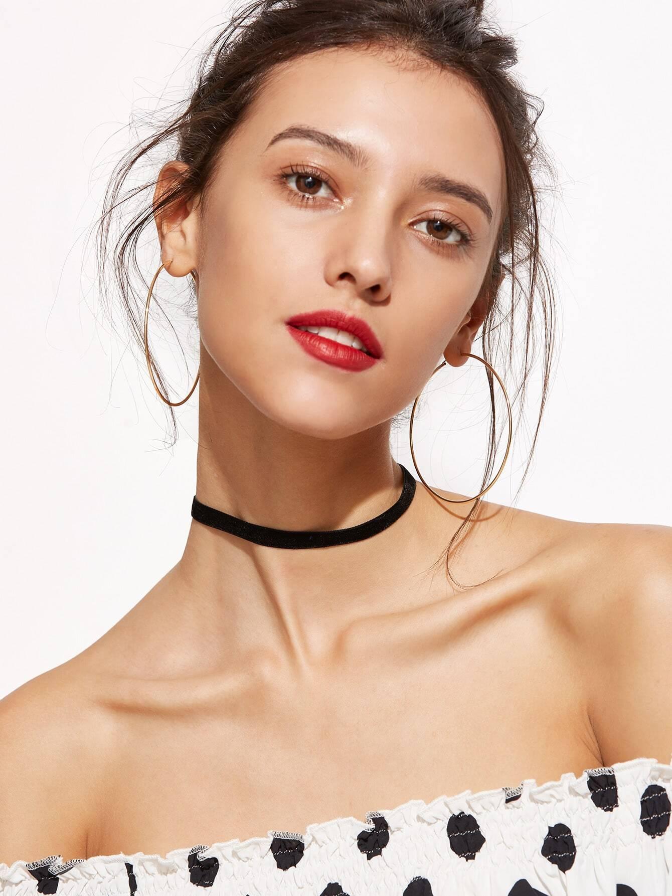 Black Velvet Slim Choker Necklace double fuzzy ball velvet choker necklace