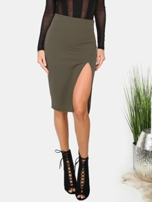 Army Green Split Side Zipper Back Pencil Skirt