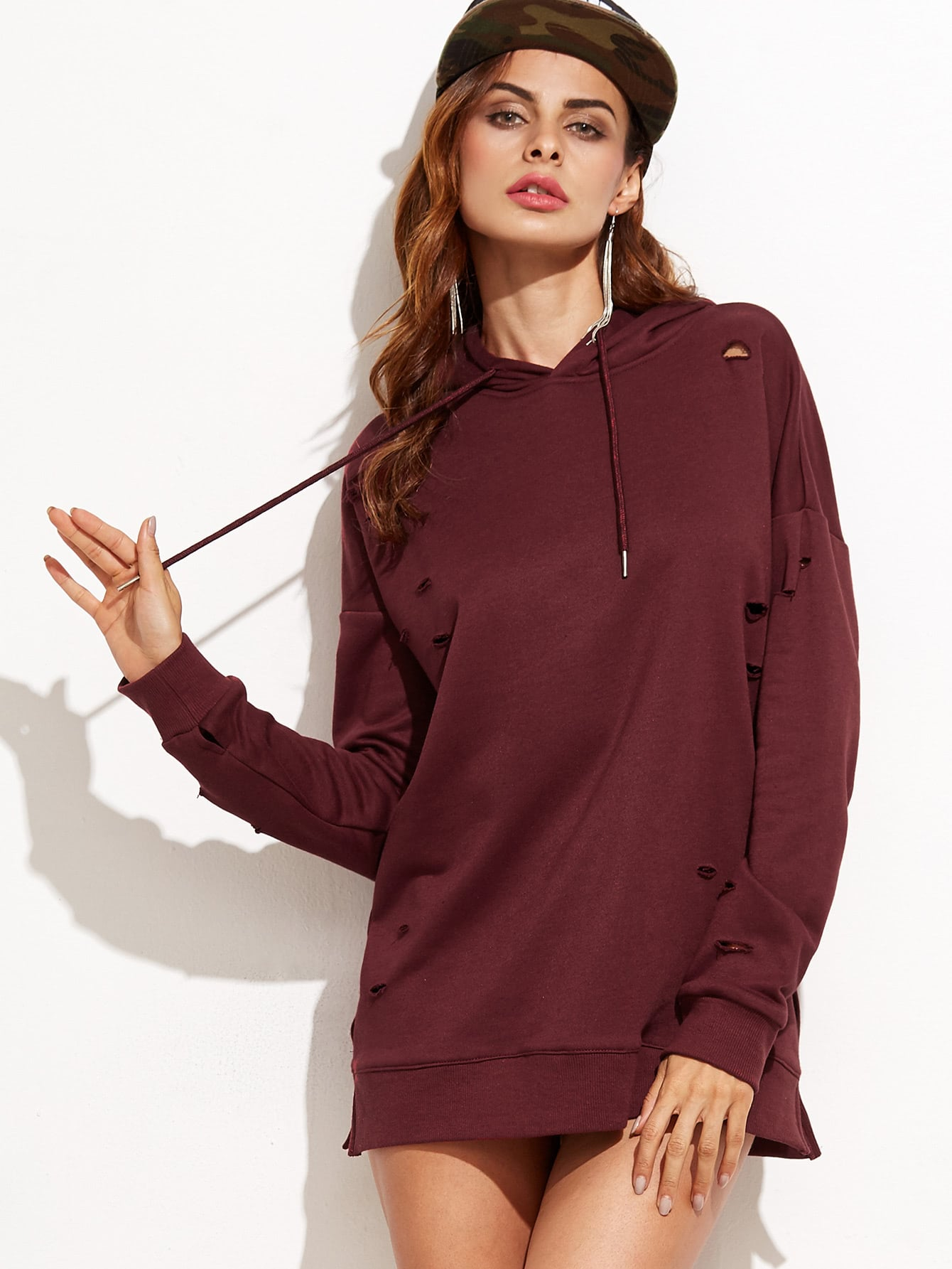 Фото Ripped Drop Shoulder Hooded Sweatshirt. Купить с доставкой