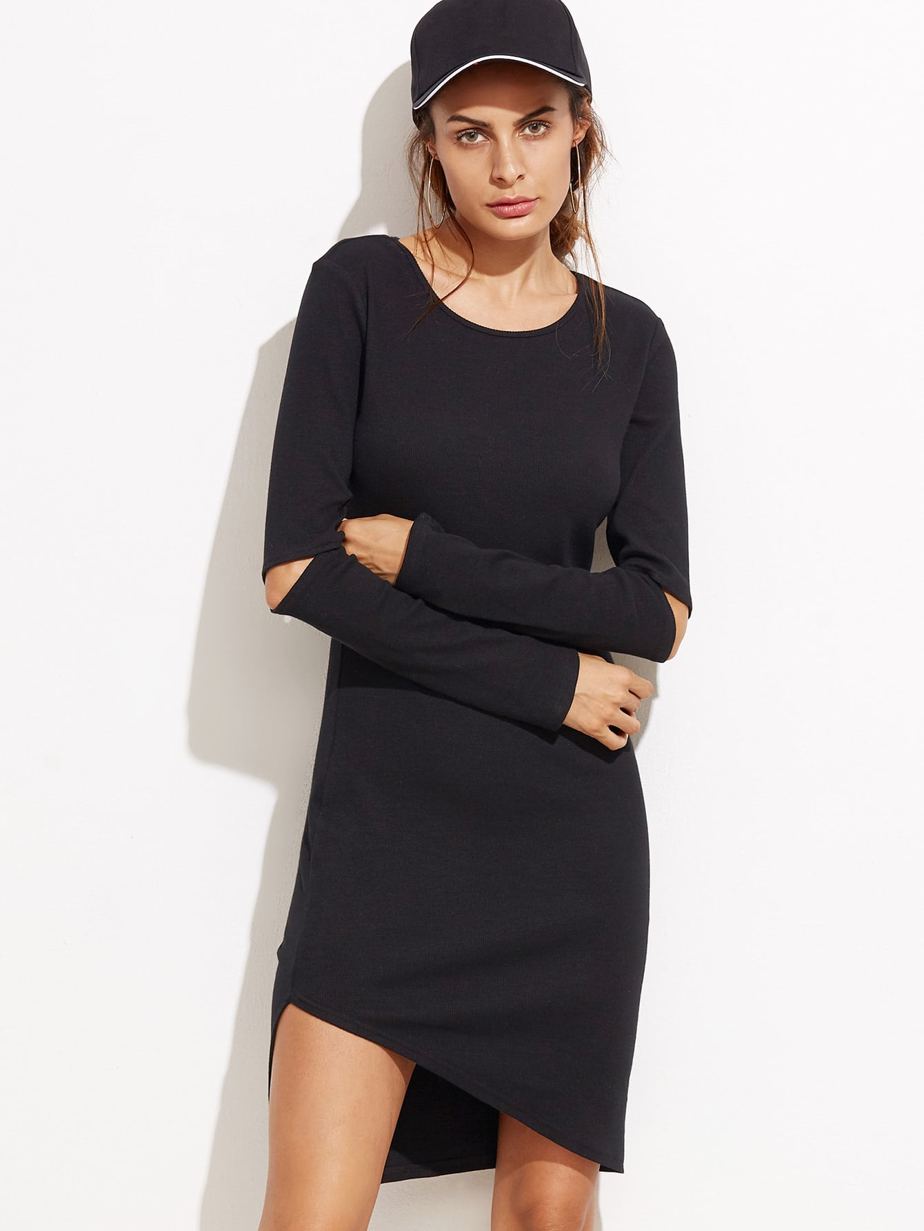 Black Cutout Elbow Asymmetric Dress dress160916701