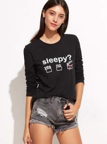 Camiseta estampada de letras - negro