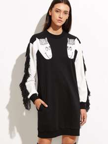 Contrast Animal Print Fringe Sweatshirt Dress