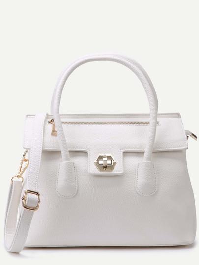 White Pebbled PU Flap Handbag With Strap