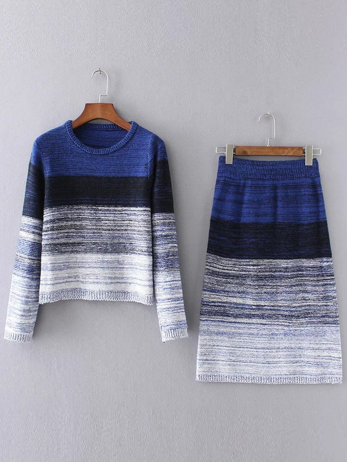 Blue Ombre Ribbed Trim Sweater With Skirt twopiece161003204