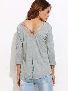 Heather Grey Crisscross Slit Back Drop Shoulder T-shirt