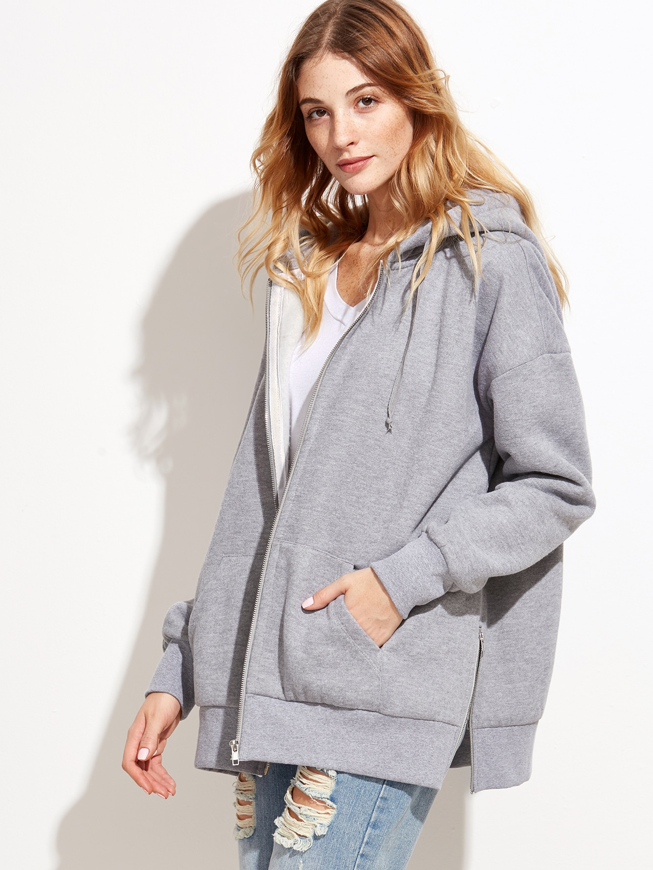 Grey Slit Side Zipper Front Hooded SweatshirtGrey Slit Side Zipper Front Hooded Sweatshirt<br><br>color: Grey<br>size: XS