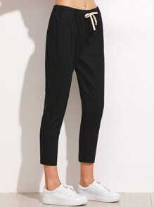 Drawstring Waist Cropped Pants