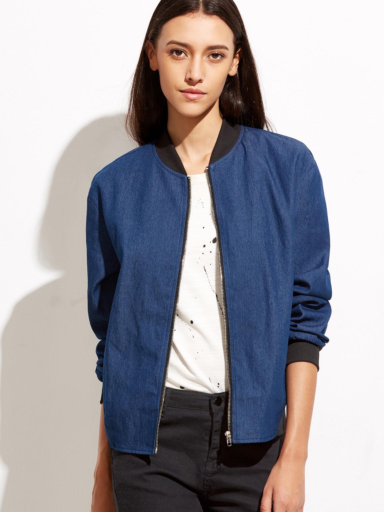 Blue Ribbed Trim Zip Up Chambray Bomber Jacket jacket160922703