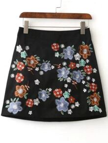 Floral Embroidery Zipper A Line Skirt