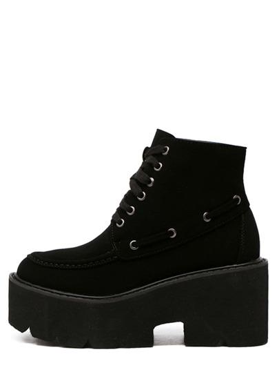 Black Faux Leather Lace Up Platform Ankle Boots