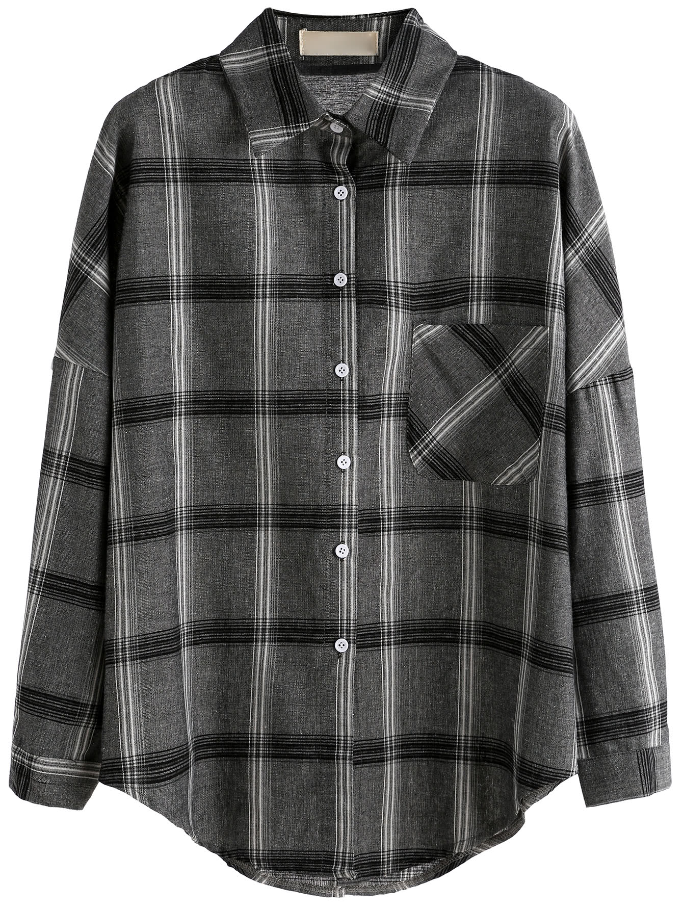 Grey Plaid Drop Shoulder Pocket ShirtGrey Plaid Drop Shoulder Pocket Shirt<br><br>color: Grey<br>size: one-size