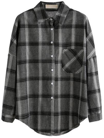 Grey Plaid Drop Shoulder Pocket Shirt