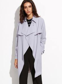 Grey Wrap Trench Coat With Gun Flap