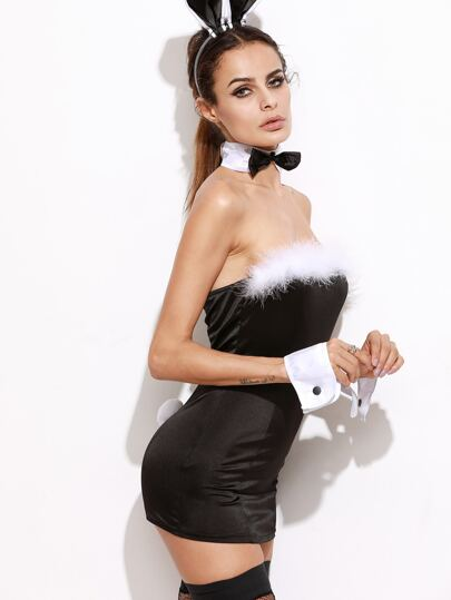 Black Bandeau Bodycon Dress Bunny Costume For Halloween