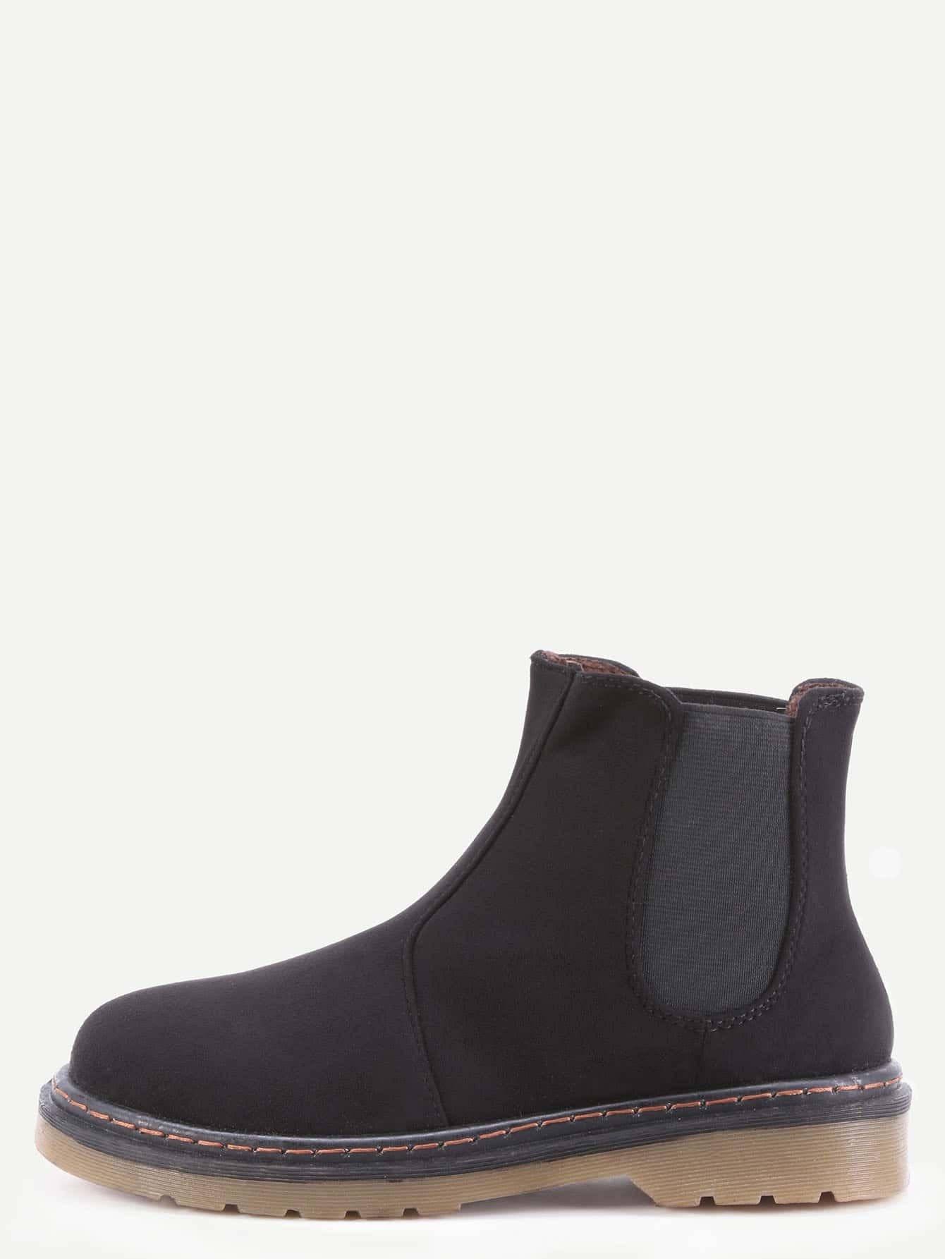 Фото Black Faux Suede Elastic Rubber Soled Short Boots. Купить с доставкой