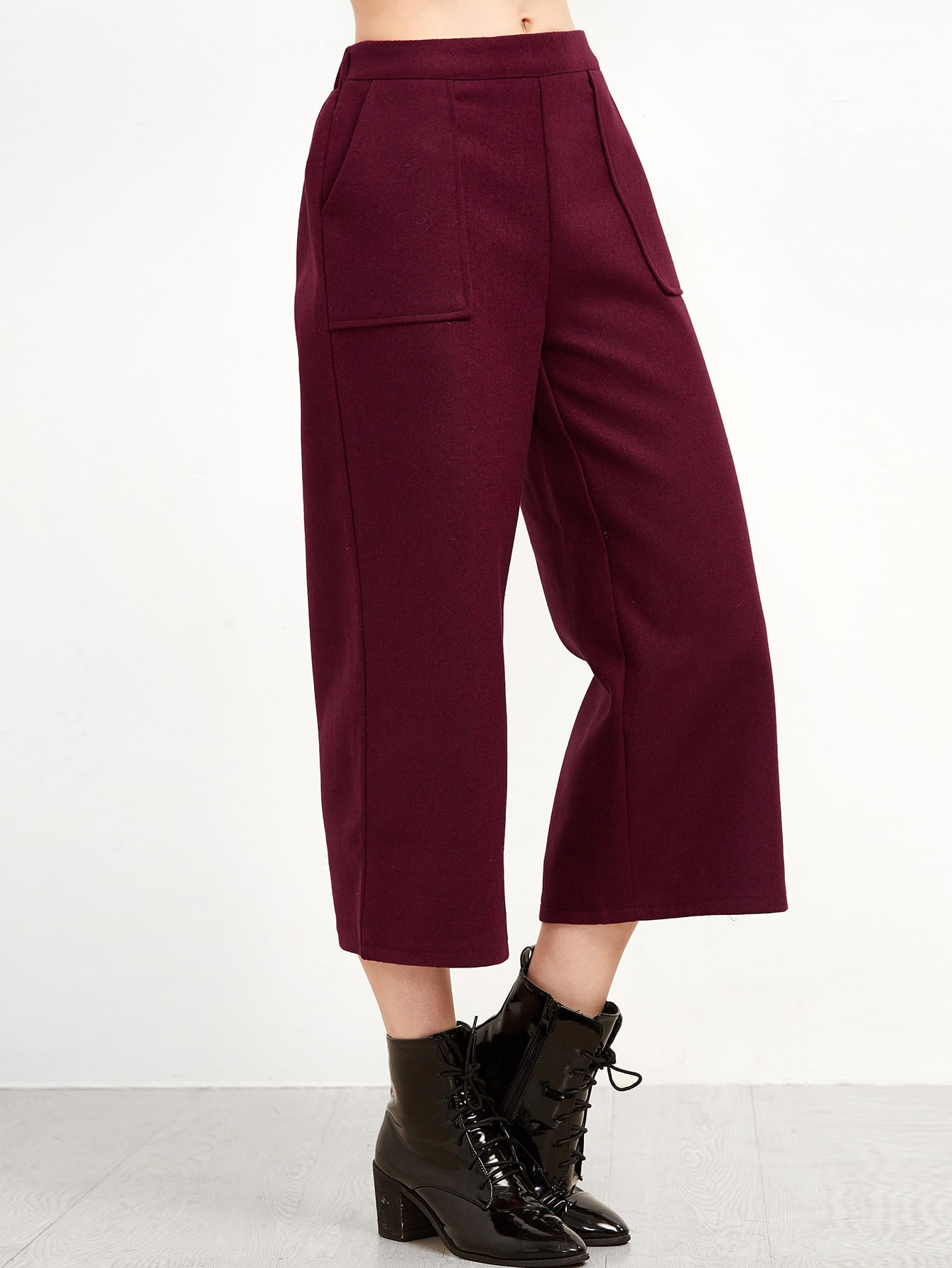 Burgundy Wide Leg Front Pockets Pants pants161004101