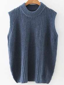 Navy Crew Neck Side Slit Sweater Vest