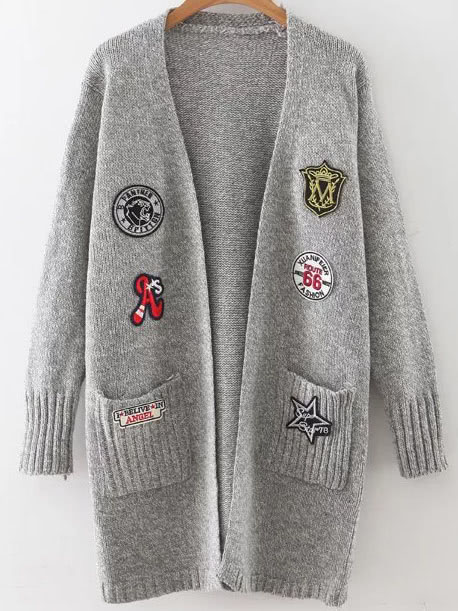 Grey Marled Knit Patch Long Cardigan With PocketsGrey Marled Knit Patch Long Cardigan With Pockets<br><br>color: Grey<br>size: one-size