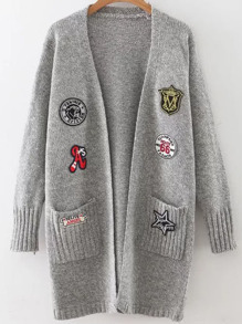 Grey Marled Knit Patch Long Cardigan With Pockets