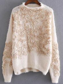 Apricot Flower Detail Drop Shoulder Mohair Sweater