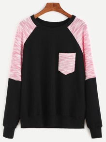 Contrast Raglan Sleeve Mixed Media Sweatshirt