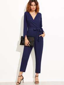 Navy V Neck Self Tie Split Cuff Jumpsuit