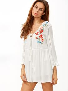 White Embroidery V Neck Bell Sleeve Dress With Cami