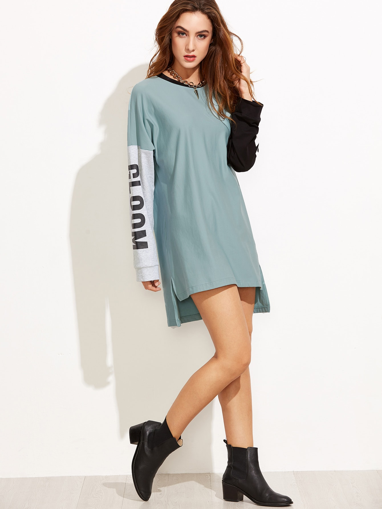 Color Block Letter Print High Low Sweatshirt DressColor Block Letter Print High Low Sweatshirt Dress<br><br>color: Green<br>size: L,M,S,XS